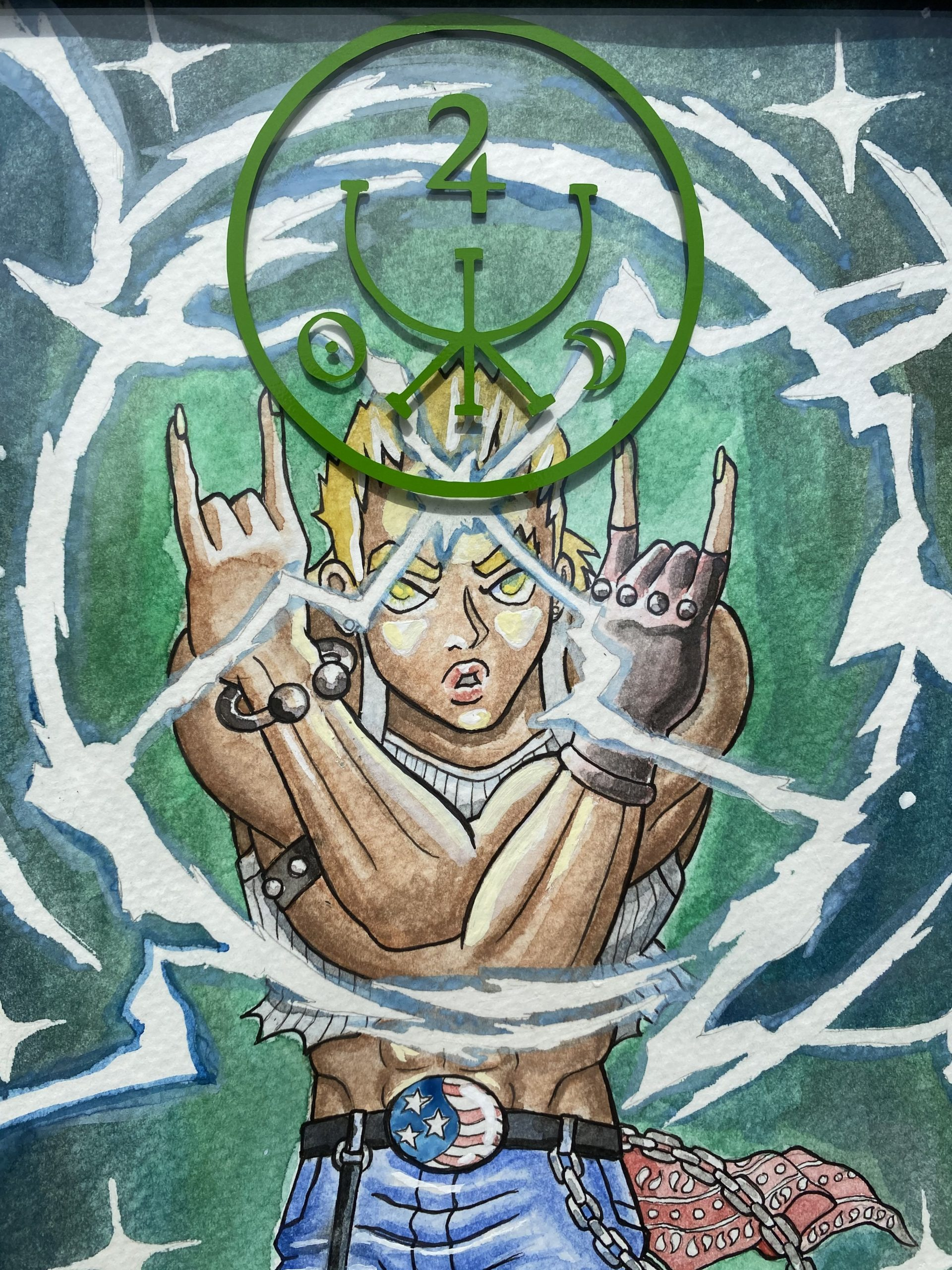Avery Noyes, VOLT SHOCKING HEAVENLY STORM! (I WISH I COULD HARNESS THAT POWER), 2020. Watercolor, pen, die-cut vinyl, 12x15 inches.